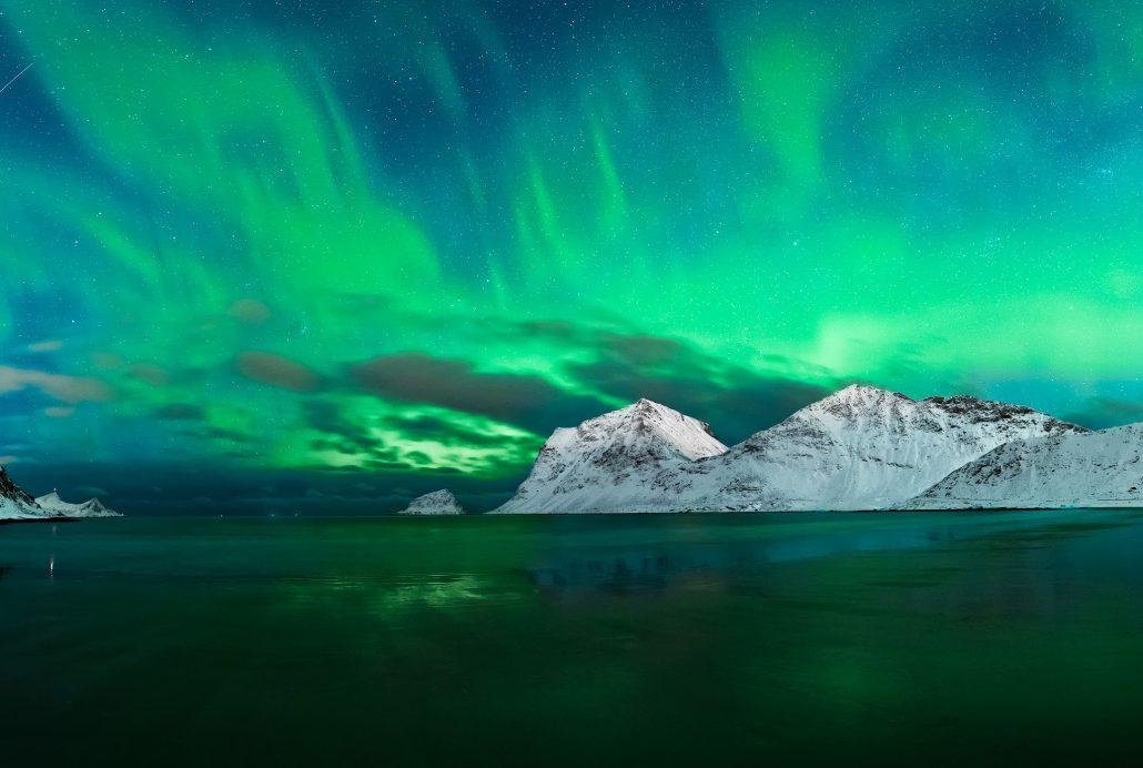 Nothern Lights, Haukland Beach, Lofoten Islands