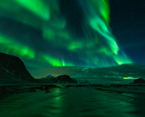 Northern Lights Lofoten Islands Haukland Beach