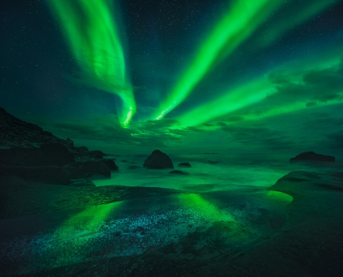 Northern Lights Lofoten Islands Uttakleiv Beach